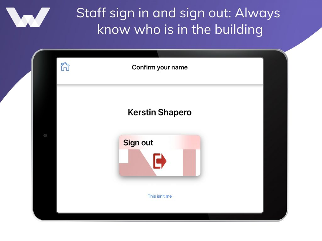 Staff sign in on iPad
